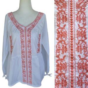 Sundance | White Peasant Boho Embroidered Blouse